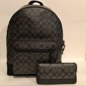 NWT Coach Signature West Backpack and Wallet